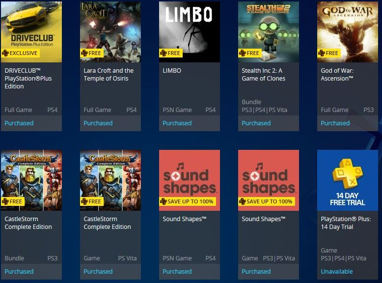 PlayStation Plus primjer